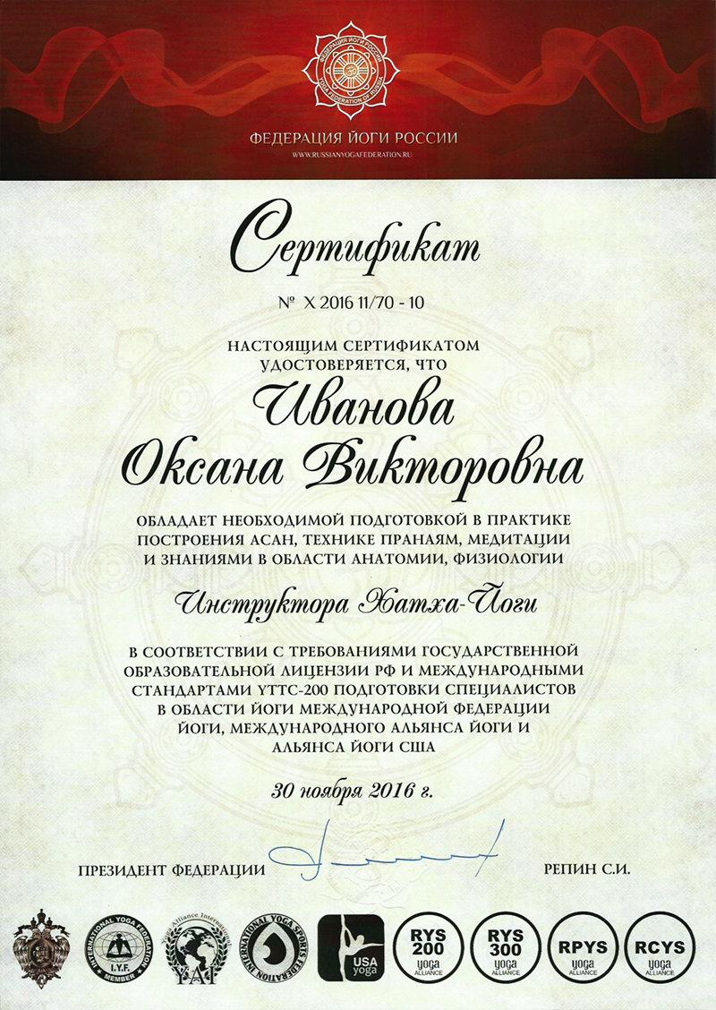 Сертификат Инструктора Хатха-йоги - Школа инструкторов йоги Федерации йоги России