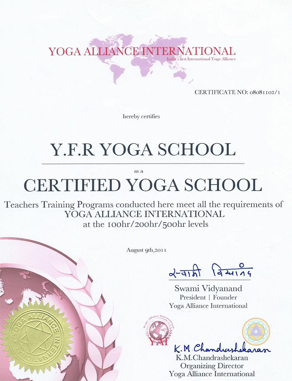 Сертификат Школы инструкторов йоги Федерации йоги России о регистрации в Международном Альянсе йоги