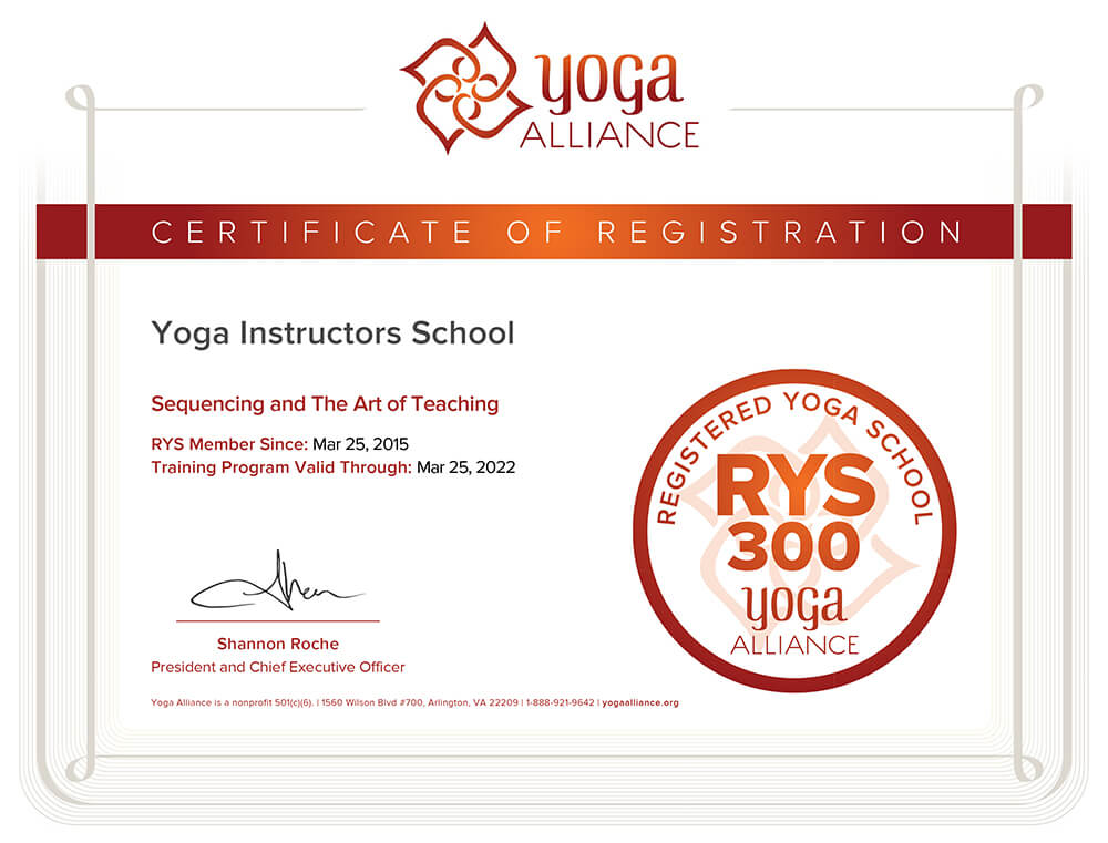 RYS-300 (Registered Yoga School, 300 hr program) – регистрация программ 300 часов Школы инструкторов йоги Федерации йоги России в Альянсе йоги США